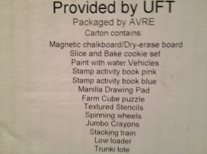 Second box list of contents