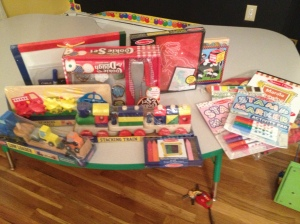 Out of this box I think I love the crayons and trains the most!